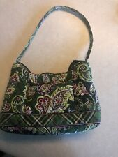 Vera Bradley Chelsea Green Paisley Plaid Purse Small Hobo Bag Quilted Retired