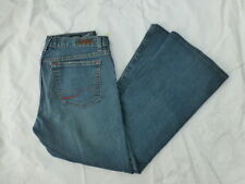 WOMENS CALVIN KLEIN LOW RISE FLARE JEANS EMBROIDERED FLOWERS SIZE 8x28 #W2738
