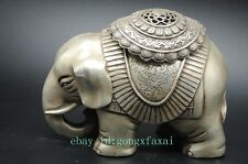 Collectible Decorated Hand-Carved Elephant Statue Tibet Silver Incense Burner GG