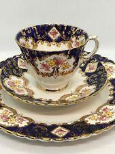FAB! Royal Stafford Heritage Bone China Trio Cup Saucer Plate Gold Trim England