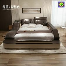 Genuine leather bed with massage double beds frame king size bedroom furniture