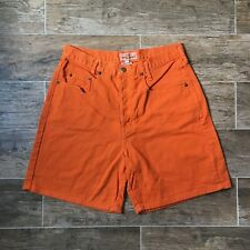 VTG 80s Guess USA Womens 2 Shorts High Waisted Orange Denim Mom Jeans Red Stripe