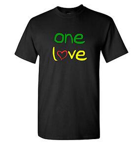 One Love T Shirt - Green Red & Yellow Reggae Tee