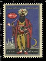 Old German Poster Stamp Cinderella Vignette, Turkey National Folk Costume.