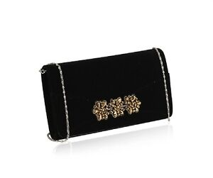 New Velvet Black Clutch Bag with Detachable Silver Chain Strap & Gold Beads