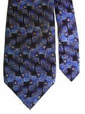 "Pierre Cardin Men's Silk Novelty Neck Tie Black Blue 3 7/8"" x 58"""