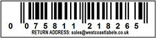 1000 WHITE  Labels,EAN Barcode 13 DIGIT,   70 mm wide x 18 mm Personalised