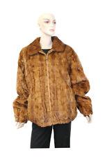 513226 New Plus Size Whiskey Mink Fur Sections Bomber Jacket Coat Stroller 24