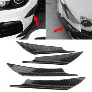 4pcs Carbon Fiber Car Bumper Angle Fin Canard Splitter Diffuser Valence Spoiler