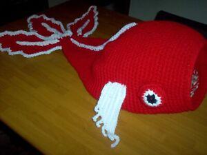 """36"""" x 10"""" Crochet cat cave, red and white koi fish, handmade"""