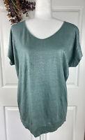 Eileen Fisher SMALL Green Shimmery Linen Tee Shirt Short Sleeve Metallic threads