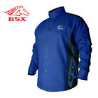 Revco BXRB9C-L BSX Flame-Resistant Welding Jacket - Blue with Blue Flames, Size