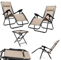 Zero Gravity Chair Recliner Outdoor Folding Table Patio Set 2 Furniture Loungers