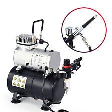 Airbrush Kompressor Set Komplett Kit Airbrushpistole Modellbau mit Luftspeicher
