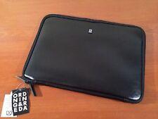 "Ordning & Reda Swedish Design Black Leather 15"" Tablet Laptop Case Sleeve Padded"