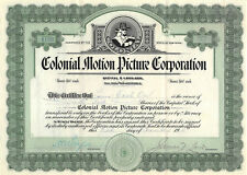 Colonial Motion Picture Company 1914 Stock Certificate Silent Film Movies