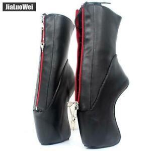 "7"" Super High Heel Hoof Heelless Sole Sexy Lockable Zipper Ankle Ballet Boots"