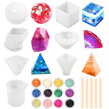 Silicone Resin Molds Casting Sphere Cube Pyramid Measuring Cup for Resin Epoxy