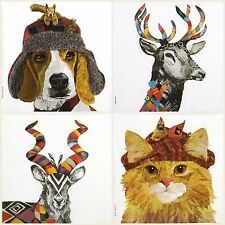 4x Paper Napkins -Colorful Animals Mix - for Party, Decoupage Craft