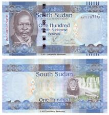 SOUDAN DU SUD 100 Lb (environ 45.36 kg) ND 2011 P-10 première Prefix 'AA' billets UNC