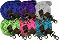 Flat Braided Cotton Roping Barrel Contest Reins Clips Blue Lime Pink Teal White