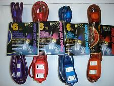 Lot of 4 pcs 6' Foot 3-Outlet Household Extension Cord Pink Purple Blue Orange