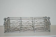 Decorative Silver Metal Rectangular Basket With Handles, Wire Design
