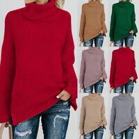 Femme Solide Ligne Manches Longues Pulls Col Roulé Chaud Sweater-shirts Hauts