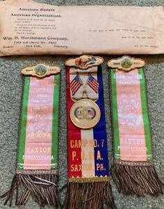 "3-  9"" Antique Rebekah IOOF Fraternal Pin Ribbon Lot Saxton Pa Camp 7, Lodge 351"
