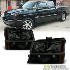 Black Smoke 2003-2006 Chevy Silverado Avalanche Headlights+Bumper Lamps 4PC Set