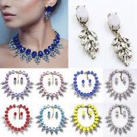 Women Choker Bib Chunky Crystal  Pendant Chain Statement Necklace Jewelry Set