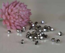 200 AAA 4mm Silver AB Bicone Crystal Beads Vacuum Pack protected 'Luvit'