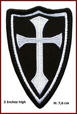 VELC. Crusader Templar Knights Shield Cross White Black Morale Patch
