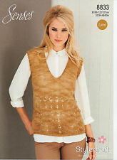 "Stylecraft Knitting Pattern 8833 Ladies Lace Lacy Sweater Tank Top 32-50"" NEW"