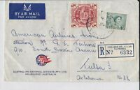 APH821) Australia 1959 small registered airmail advertising cover