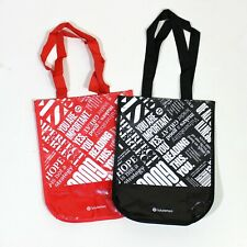 (2) Lululemon Reusable Shopping Holiday Gift Bag Small Lunch Tote Red Black