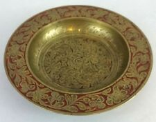 Made in India Brass Metal Etched Flower Detail Pin Change Catch All Dish