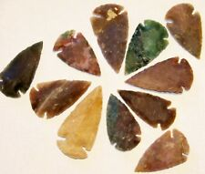 """10 HAND KNAPPED  AGATE ARROWHEAD   1 3/4"""" - 2 1/2"""" (NEW GREAT SIZE)"""