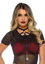 Sexy Harness Spider Nero Ragnatela Halloween Costume Ragno metal ring punk rock