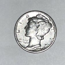 US Mint 1942 MERCURY DIME Very Fine 90% Silver $.10 Ten Cent Mid Century Coin