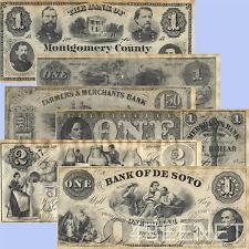 CIVIL WAR - UNION STATES replica currency 6 NOTE SET parchment money prints NEW