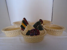 6 Vintage Metlox Poppytrail  Hand Painted Green Rooster Covered Dishes