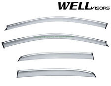 Fit 14-18 A3 Sedan WellVisors Smoke Chrome Trim Clip-On Window Visors Rain Guard