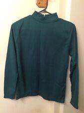 Vintage Miss K Ladies' Dark Green Polyester Rib Knit Mock Turtleneck Size M