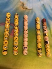 50 Lego minifigure Parts Pre-Owned Heads Flesh 2 Sided Mixed Lot