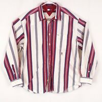 Tommy Hilfiger Mens XL Red White Blue Stripe Shirt Casual Button Down Long Slv