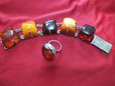 Bracelet Sterling Silver Amber Vintage & Antique Jewellery