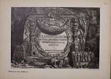 ANTIQUE PIRANESI PRINT 100 YEARS OLD from VIEWS of ROME TITLES POPE CLEMENT