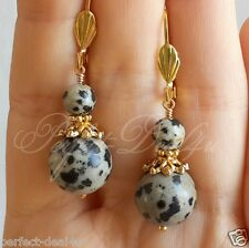 Dalmatian Spot Jasper Stone Gold Plated Leverback Round Earrings