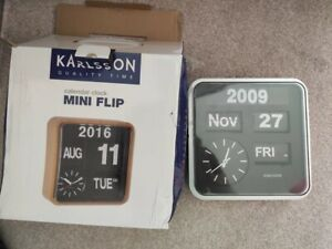 Karlsson Mini Flip Retro Wall Clock with Day, Date, Year & Time, Silver